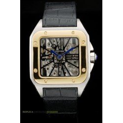 Cartier replica santos skeletron acciaio oro strip leather orologio replica copia imitazione