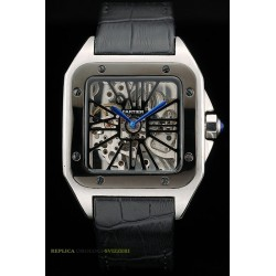 Cartier replica santos skeletron ceramichon strip leather orologio replica copia imitazione