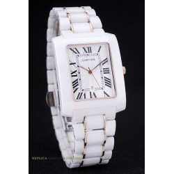 Cartier replica tank francaise ceramic rose gold white dial orologio replica copia imitazione